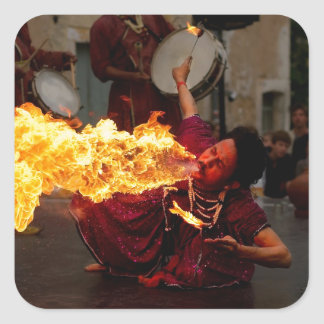 Fire Breathing Square Stickers