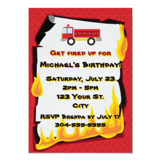 Fire Department Birthday Party 13 Cm X 18 Cm Invitation Card