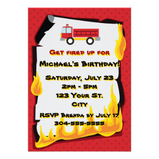 Fire Department Birthday Party Personalized Invites