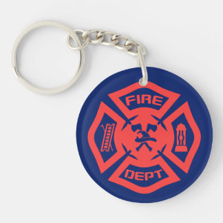 Fire Department Double-Sided Round Acrylic Key Ring