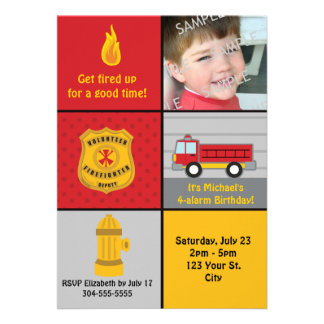 Fire Engine Birthday Party Custom Invites