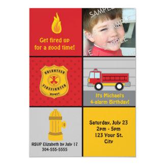Fire Engine Birthday Party Custom Invites