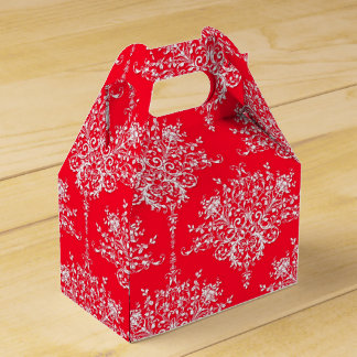 Fire Engine Red and White Floral Damask Wedding Favour Box