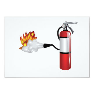 "Fire Extinguisher Putting Out Fire Invitations 5"" X 7"" Invitation Card"