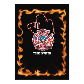 Fire fighter fighting the flames 13 cm x 18 cm invitation card
