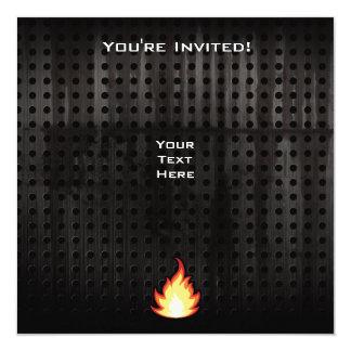 Fire Flame; Rugged 5.25x5.25 Square Paper Invitation Card