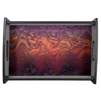 Fire flame swirl Tray-Purple rose tones Design Serving Platters