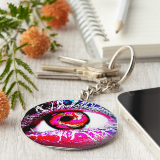 Fire Frozen Eye Ball by V.Sisk Basic Round Button Key Ring