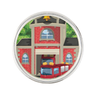 Fire House and Fire Truck Lapel Pin