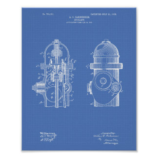 Fire Hydrant 1903 Patent Art - Blueprint Poster