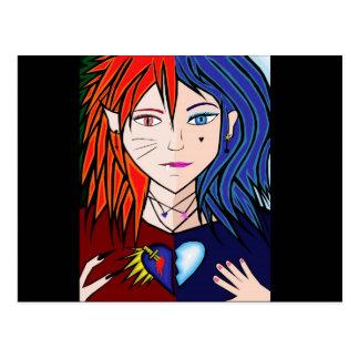 Fire Ice girl anime Postcard