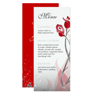 Fire & Ice Menu Rackcard | Red Silver Roses Card