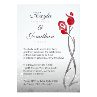 Fire & Ice Wedding Invitations | Silver Red Roses