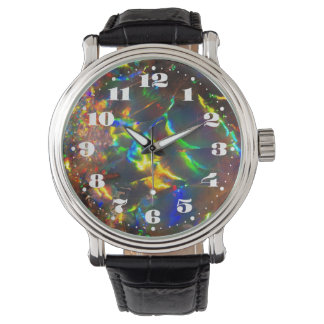 Fire Opal Gemstone with Numbers Wrist Watches