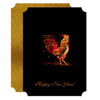 Fire rooster. Flaming animal sparkle cool design 13 Cm X 18 Cm Invitation Card