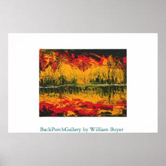 Fire Sunset Finger Painting Poster