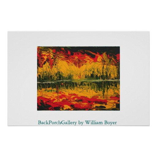 Fire Sunset Finger Painting Print