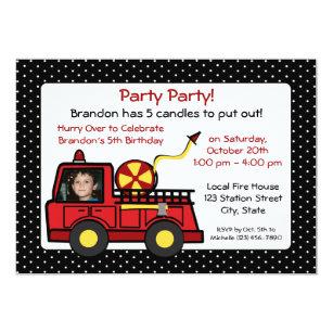 Fire Truck Birthday With Photo Invitation