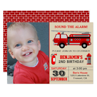Fire Truck Kids Photo Birthday Party Invitation