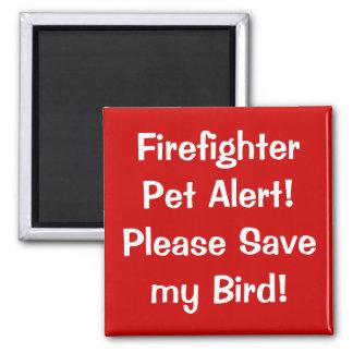 Firefighter Pet Alert! Square Magnet