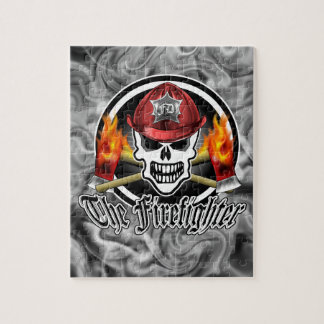 Firefighter Skull 2 and Flaming Axes Jigsaw Puzzle