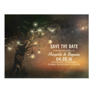 Fireflies mason jar tree rustic save the date postcard