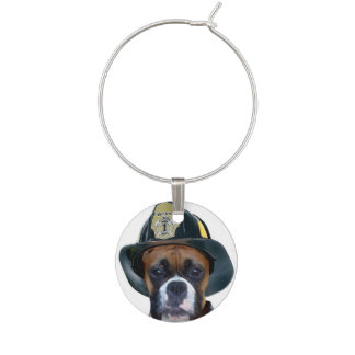 Fireman boxer dog wine glass charms