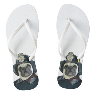 Fireman Pug Dog Thongs