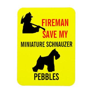 Fireman Save Miniature Schnauzer Fire Safety Magnet