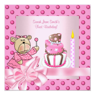 First 1st Birthday Party Girls Pink Cute Cake Card