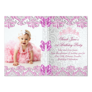 First 1st Birthday Party Girls Pink Photo Princess Card