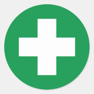 First aid round sticker