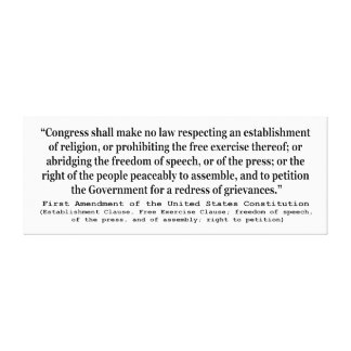 First Amendment of the United States Constitution Canvas Print