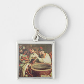 First Baptism of the Indians by the Dominicans Silver-Colored Square Key Ring