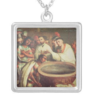 First Baptism of the Indians by the Dominicans Silver Plated Necklace