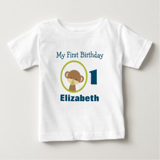 First Birthday Baby Safari Monkey with Pacifier Baby T-Shirt