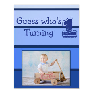 First Birthday Blue Baby Boy Party Invitations