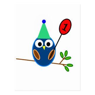 First Birthday Celebration, Cute Owl Postcard