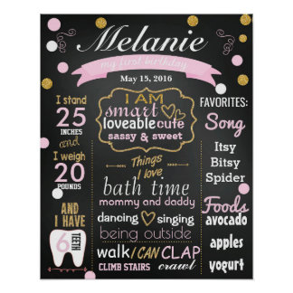 First Birthday Chalkboard sign confetti