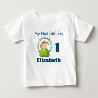 First Birthday Cute Safari Monkey Baby T-Shirt