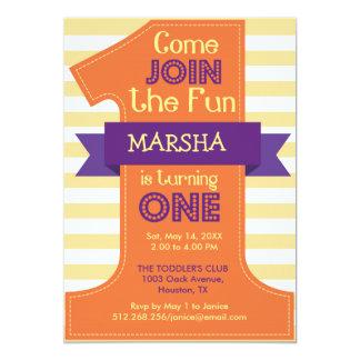 First Birthday Girl Orange Birthday Party 13 Cm X 18 Cm Invitation Card