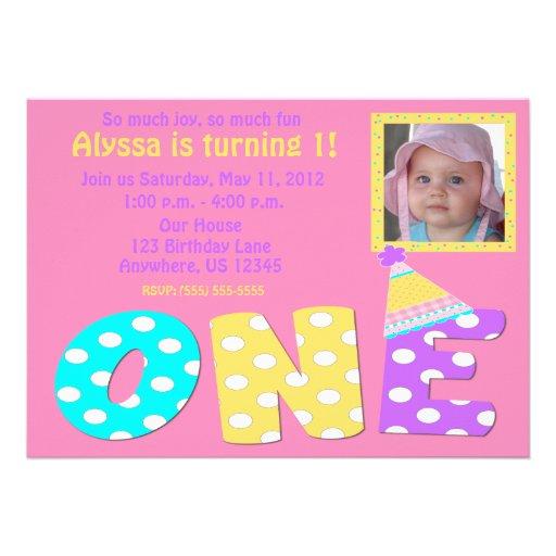 First Birthday Girl Pink Invitaiton Personalized Invitation