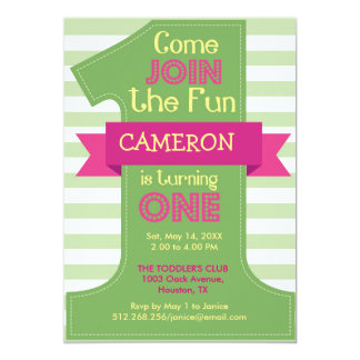First Birthday Green Boy and Girl Party Invitation
