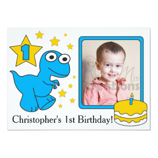 First Birthday Invitaions - Dinosaurs Card