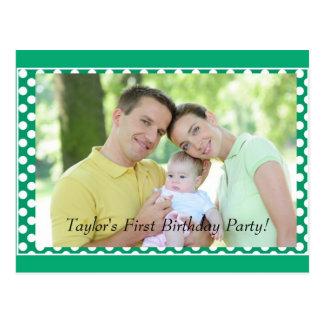 First Birthday Invitation Photo Postcard