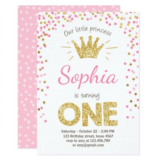 First Birthday Invitation Princess Gold