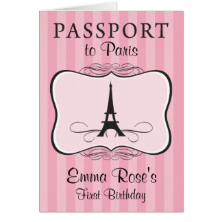 First Birthday Paris Passport Invitation