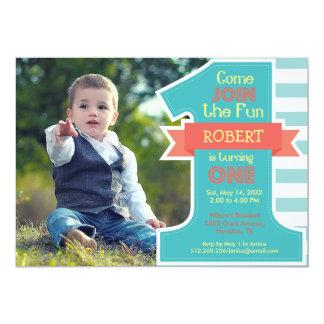 First Birthday Party Blue Boy Invitation