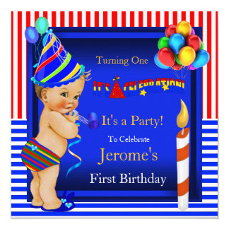First Birthday Party Boy Blue Red Blonde Baby Card