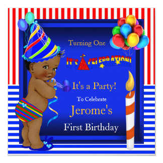 First Birthday Party Boy Blue Red Ethnic 13 Cm X 13 Cm Square Invitation Card